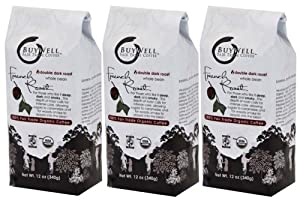BuyWell French Roast Blend, 100% Fair Trade, Organic 12-Ounce Bags (Pack of 3) WHOLE BEAN