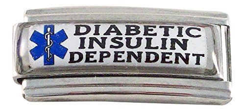 Diabetic Insulin Dependent Medical Italian Charm for Bracelet Blue Star of Life (Italian Dependent compare prices)
