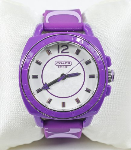 Coach Signature Boyfriend Silicon Rubber Purple Watch Gift Box