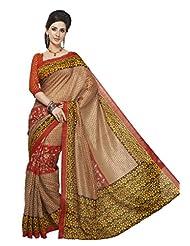 Inddus Exclusive Women Bhagal Puri Silk Printed Brown Saree - B00OLYE2WS