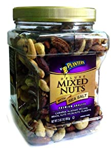 Planters Deluxe Mixed Nuts with Sea Salt Canister, 2 Pound 2oz(963g)