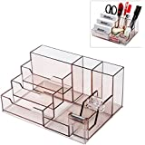 Modern Clear Brown Plastic 7 Compartment Office Supply Desktop Organizer Tray w/ Built-In Tape Dispenser