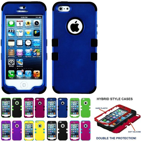 Mylife (Tm) Black And Royal Blue - Classic Series (Neo Hypergrip Flex Gel) 3 Piece Case For Iphone 5/5S (5G) 5Th Generation Itouch Smartphone By Apple (External 2 Piece Fitted On Hard Rubberized Plates + Internal Soft Silicone Easy Grip Bumper Gel + Lifet