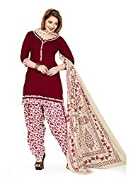 PShopee Maroon-Cream Printed Cotton Unstitched Semi Patiala Suit Material