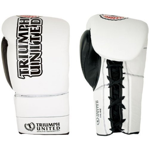 Triumph United Storm Trooper Lace Up Pro Boxing Gloves, White, 12-Ounce (Triumph United Gloves compare prices)