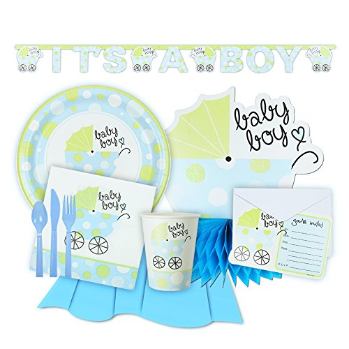 Bouncing Boy Baby Shower Light Blue Tableware and Decorations, Complete Party Set for 12 (Paper Goods For Baby Boy Shower compare prices)