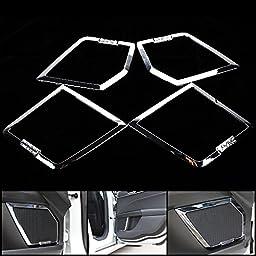4pcs Chrome Car Interior Door Speaker Decoration Cover Trim w/ 3M Adhesive Tape For 13 14 15 Ford Fusion