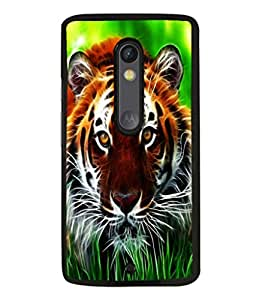 printtech Tiger Eyes Look Grass Back Case Cover for Motoroal Moto X Play