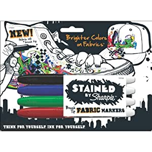 Stained by Sharpie Brush Tip Fabric Markers, 4 Colored Markers (1779004)