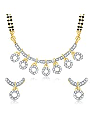 VK Jewels Artistic Design Seven Circles Gold And Rhodium Plated Mangalsutra Pendant With Earrings -MP1053G [VKMP1053G...