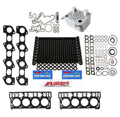 03-06 Ford Powerstroke 6.0L Diesel Custom ARP Head Stud Kit &Oem Style 18mm Head Gaskets & Intake Manifold Installation Kit & Exhaust Gaskets &Sinister Oil Cooler Kit- Solution Kit - Bundle