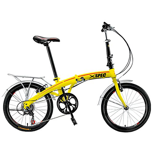 "Cheapest Price! Xspec 20"" 7 Speed Folding Compact Bike Bicycle Urban Commuter Shimano Yellow Ne..."