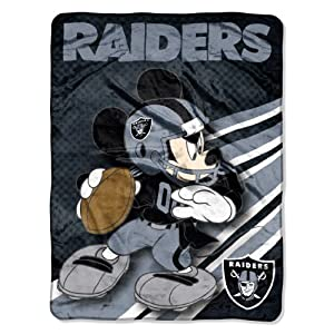 NFL Oakland Raiders Mickey Mouse Ultra Plush Micro Super Soft Raschel Throw Blanket by Northwest