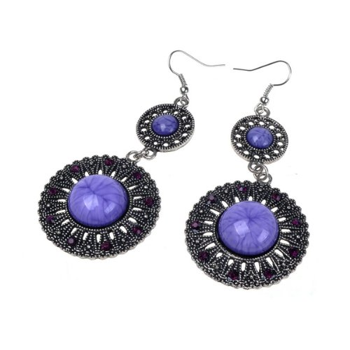 Beautiful Purple Vintage Look Design Archaize Earring Long Dangle Drop Earrings