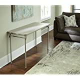 Cosco Dorel Industries Rectangle Vinyl Top Folding Serving Table, 20 x 48-Inch, Off White