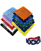 12 Cotton Bandanas Plus a American Flag Bandana Headband By CoverYourHair®
