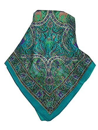100% Silk Scarf Square Traditional Kaladi Pattern in Blue by Pashmina & Silk BUY ANY 3 LONG OR SQUARE TRADITIONAL PATTERN SILK SCARVES FOR £39