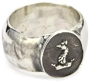 "Pyrrha ""talisman"" Men's Sterling Silver Gryphon Head Band Ring, Size 10"