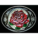 Western Rose Colored Belt Buckle