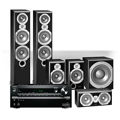 """Onkyo TX-NR646 7.2 Channel Network AV Receiver with Infinity Primus P363 5.1 Channel Home Theater Package and 12"""" Subwoofer (Black)"""
