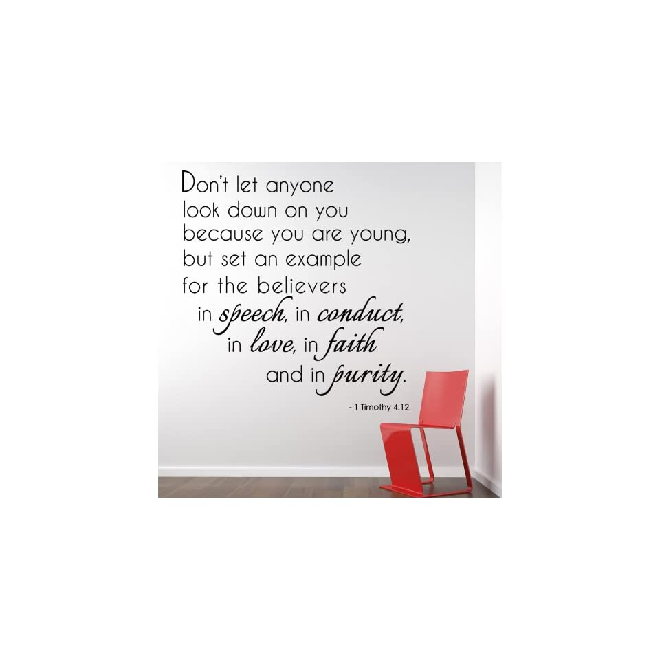 Dont let anyone look down on you 1 Timothy 412 Religious Bible Verse Wall Decal Vinyl Art Sticker Home Decor Quotes