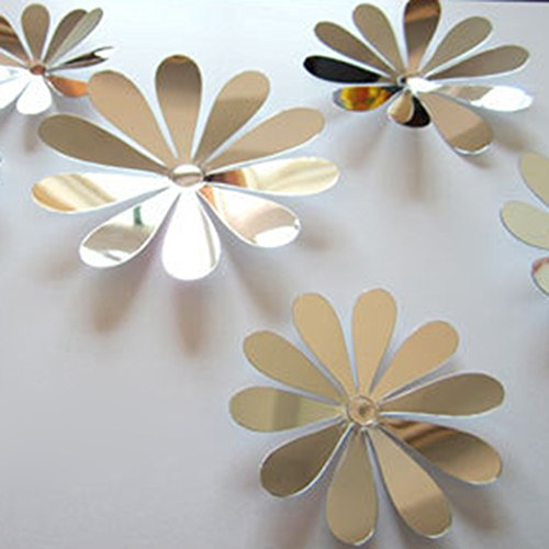 ROPALIA 3D DIY 12pcs Flowers Sticker Decor Mirror Wall Stickers Home Decoration