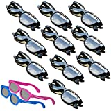 OFFICIAL Adult Passive Polarized 3D Glasses Pack for Passive 3D TV's Televisions from SONY, LG, Vizio, Toshiba, LG, Philips, Panasonic and JVC - also for use in Real-D 3-D Theaters - 10 Pairs - Includes 2 3DHeaven PREMIUM KIDS SIZED PAIRS!