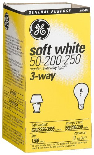 Ge 3 Way Soft White Light Bulb 250 W 620/3335 Lumens A21 Med Base 5-1/4 In. Sleeved сливочник 250 мл white royal bone china сливочник 250 мл white