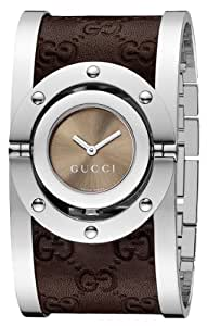 Gucci Women's YA112433 Twirl Medium Brown Guccissima Leather Bangle Watch