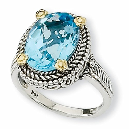 Sterling Silver and 14k 6.00ct Swiss Blue Topaz Ring
