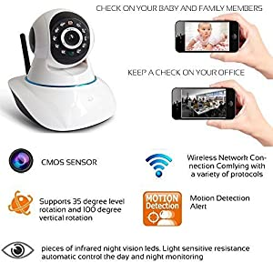 This is a new arrival WIFI IP camera. Wireless Domp IP Camera No Wiring, Simple Installation Intelligent Alerts Receive Notifications Directly to Your Device Night Vision Watch around the Clock with Automatic Infrared LEDs. Two-Way Talk Conne...