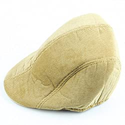 Aoneitem Men's Light Khaki Corduroy Winter Warm Newsboy Flat Cabbie Beret Ivy Cap Hat