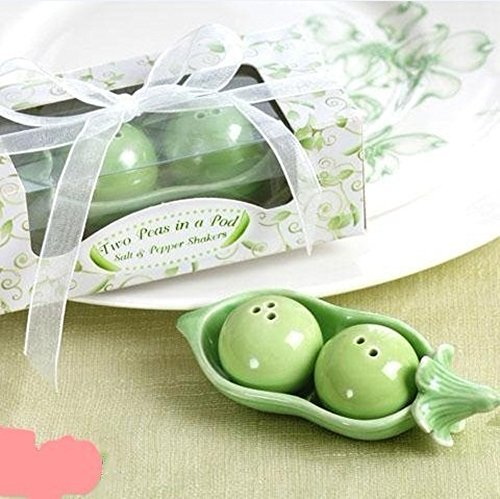 ASSIS Two Peas in A Pod Ceramic Salt and Pepper Shakers in Ivy Print Gift Box (Peas In Pod Salt compare prices)