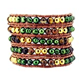 Dyed Colored Freshwater Cultured Pearls Wrap Around Leather Bracelet (Green with Tiger Eye)