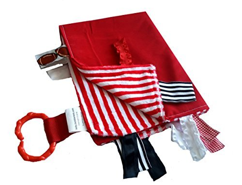 Sensory Baby Security Tag Blanket, Badgers Inspired Red and White for Wisconsin Badgers Ncaa Baby Blanket