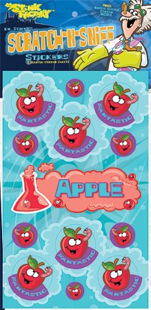 Dr Stinky's APPLE Scratch-n-Sniff Stickers) 2 sheets 4 x 6 3/4, 26 stickers