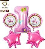 HINATA 誕生日 アルミ 風船 セット 1歳 2歳 3歳 バルーン ((1歳 女の子 プリンセス)セット)