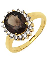 3.50 Grams Smoky Topaz & White Cubic Zirconia Gold Plated Brass Ring