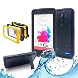 New Lg G3 III Ip 68 Untra Kick-stand Waterproof Case,nika Shop Full Body 6.6 Ft Underwater Attached Screen Protector Waterproof Water Resistant Hard Shell Heavy Duty Case Cover for Lg G3 III Phone, Defender Dirtproof Dustproof Snowproof Sweatproof Shockproof Hard Armor Triple Layer Protective Protection Cover Skin Case for Lg G3 Iii+ Free Screen Protect + Carry Strap (Nika Shop-black)