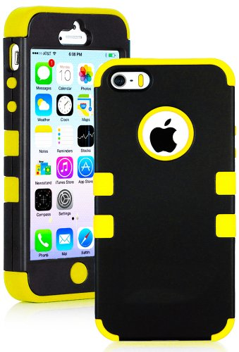 "myLife (TM) Bright Yellow and Black - Robot Series (Neo Hypergrip Flex Gel) 3 Piece Case for iPhone 5/5S (5G) 5th Generation iTouch Smartphone by Apple (External 2 Piece Fitted On Hard Rubberized Plates + Internal Soft Silicone Easy Grip Bumper Gel + Lifetime Warranty + Sealed Inside myLife Authorized Packaging) ""Attention: This case comes grip easy smooth silicone that slides in to your pocket easily yet won't slip out of your hand"""