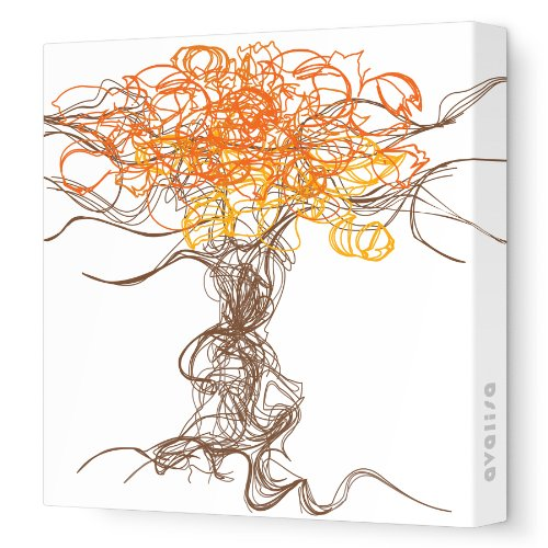 "Avalisa Stretched Canvas Nursery Wall Art, Branches, Orange, 12"" X 12"""