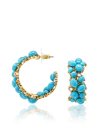 Kenneth Jay Lane Faux Turquoise Hoop Earrings