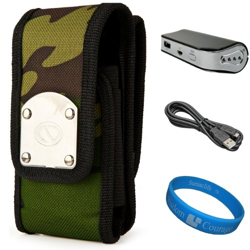 Camo NZTK Durable Holster Case with 2 Optional Belt Clips for LG Optimus L9 / LG Optimus G / LG Optimus 4X HD Smartphones + Universal Power Bank with Micro USB Charging Cable + SumacLife TM Wisdom Courage Wristband