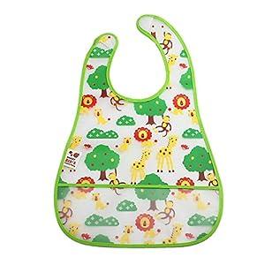 Tongshi Nueva EVA niños de dibujos animados para niños plástico translúcido suave para bebés baberos impermeables(color)