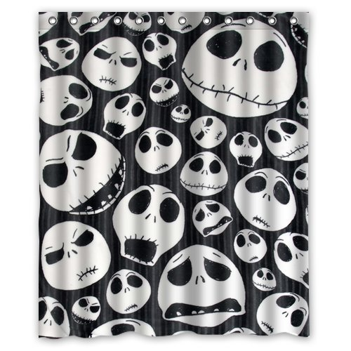Custom Unique Design The Nightmare Before Christmas Skull Waterproof Fabric Shower Curtain, 72 By 60-Inch front-297228