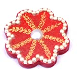 Pure Sentiments Designer Kumkum Sindoor Box Flower Shaped 8 Sided With White Pearls - Set Of 21
