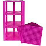 "Premium Magenta Stackable Base Plates 10 Pack 6"" X 6"" Baseplate Bundle With 80 Magenta Bonus Building Bricks (..."