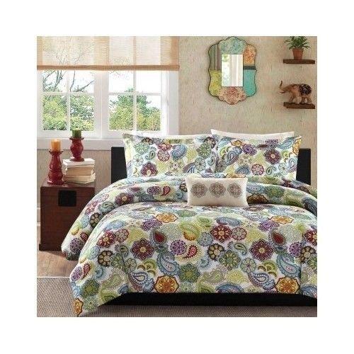 Paisley Print Comforter Set Boho Bed Blanket Bedding Comforters Sets Multi Color front-1030331