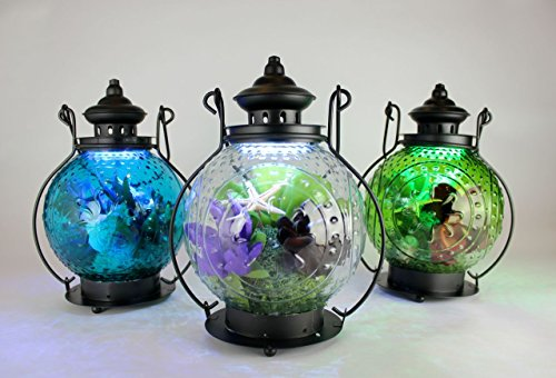 """12"""" Round Illuminated Glass Lanterns; Set Of 3 In G/W/B - Octopus'S Garden"""