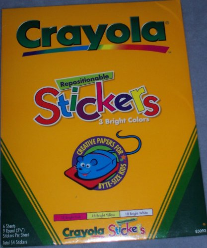 Crayola Inkjet Printer Repositionable Stickers: 3 Bright Colors